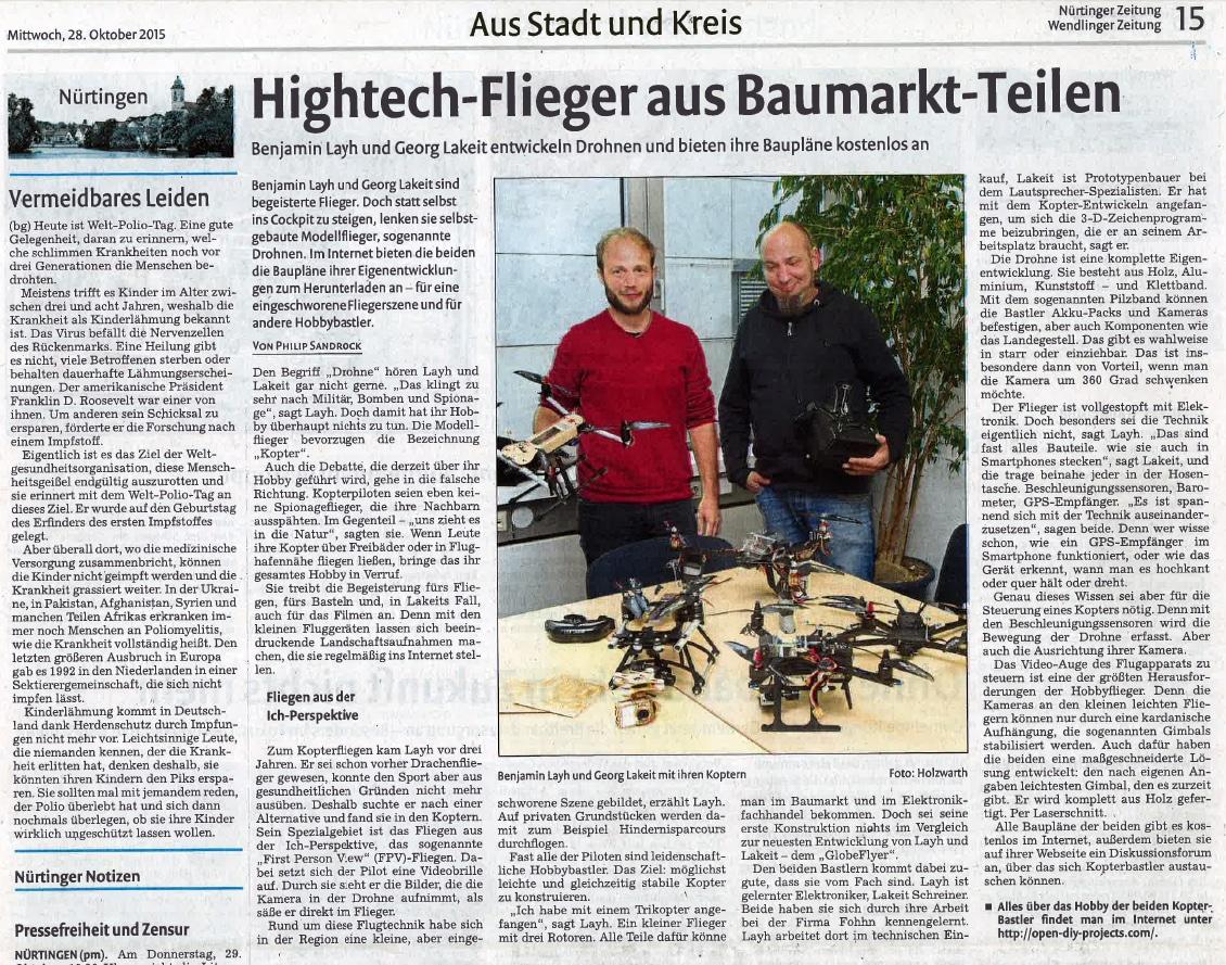 OPEN DIY PROJECTS in der Nürtinger-Zeitung